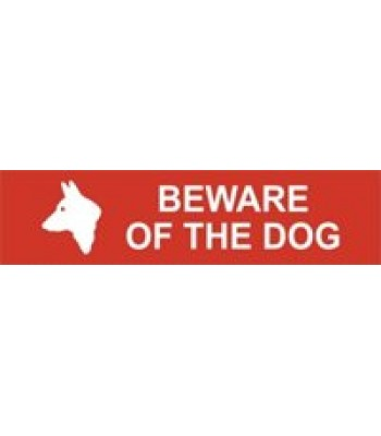 Sign Mini Beware of the Dog Red