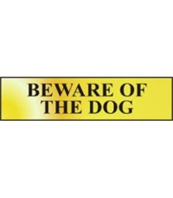 Sign Mini Beware of the Dog Gold