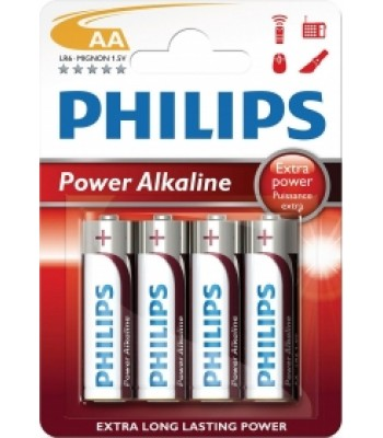Battery AA Philips Alkaline Pk 4