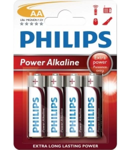 Battery AA Philips Alkaline Pk 4