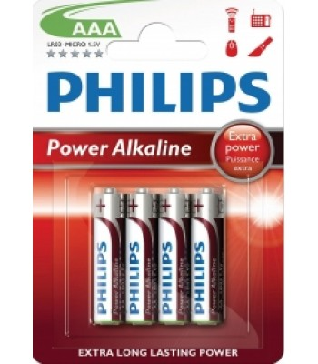 Battery AAA Philips Alkaline Pk 4